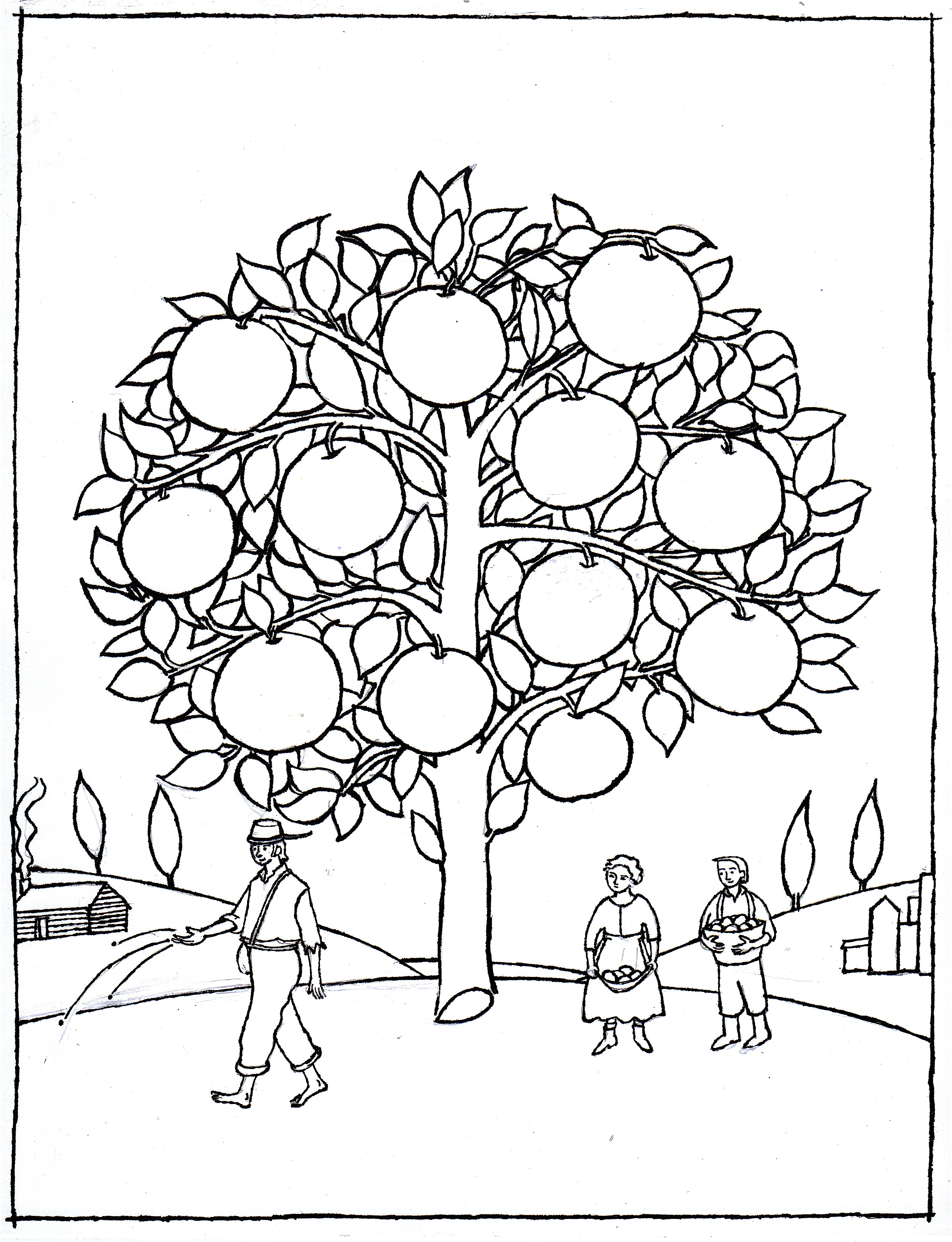 Johnny Appleseed coloring page  Lynne Rae Perkins